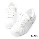 D+AF 假期穿搭.真皮綁帶休閒小白鞋*白