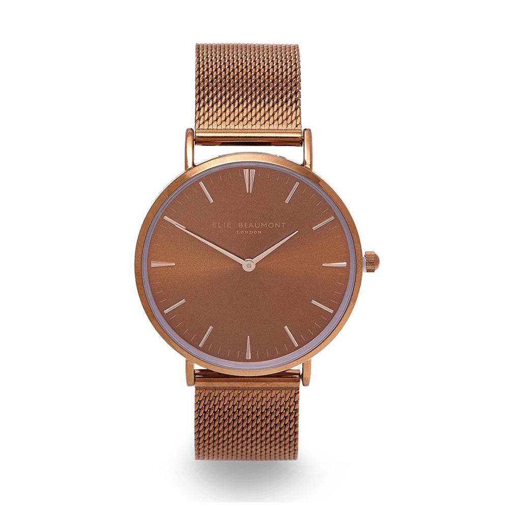Elie Beaumont 英國時尚手錶 牛津米蘭錶帶系列 金屬咖啡色38mm