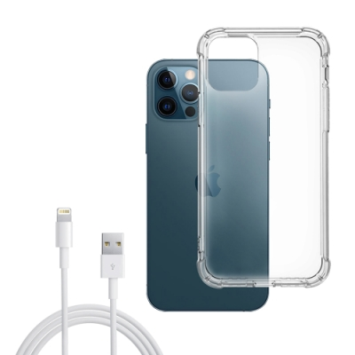 iPhone 12 Pro Max 透明 加厚四角 防摔 氣囊 手機殼 保護套 防摔殼 手機保護殼-贈充電線白色100cm
