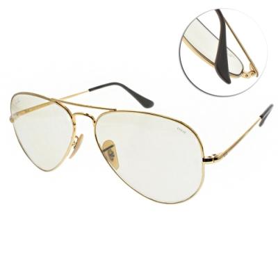 RAY BAN太陽眼鏡 經典潮流雙槓款/金-粉淡綠鏡片#RB3689 001T2