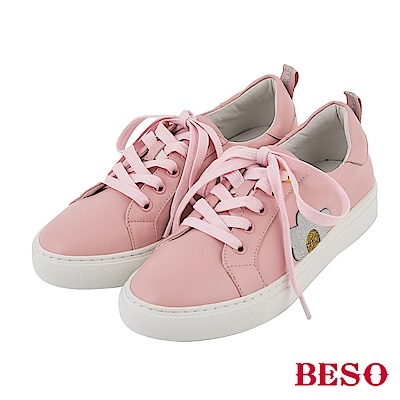 BESO 街頭趣味 立體金蔥荷包蛋休閒鞋~粉