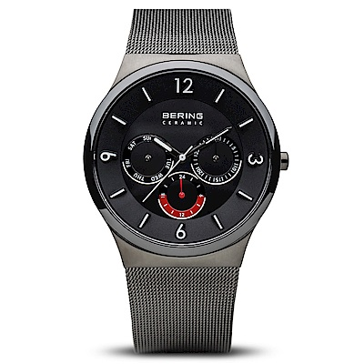 BERING丹麥精品手錶 三眼顯示米蘭代陶瓷錶面 黑40mm