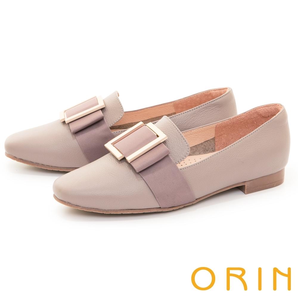 ORIN 真皮方釦樂福 女 平底鞋 可可