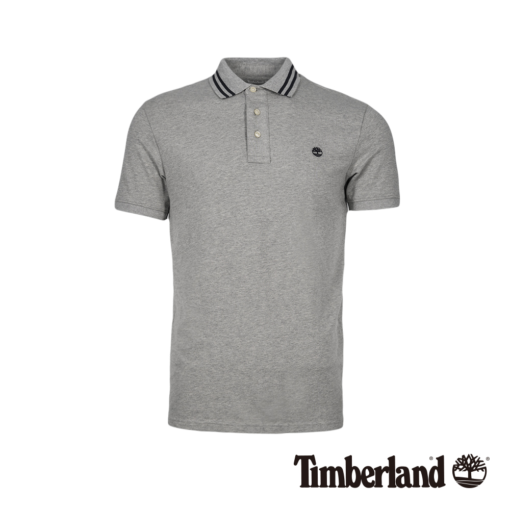 Timberland 男款中麻灰刺繡LOGO修身針織短袖POLO衫 A1W35