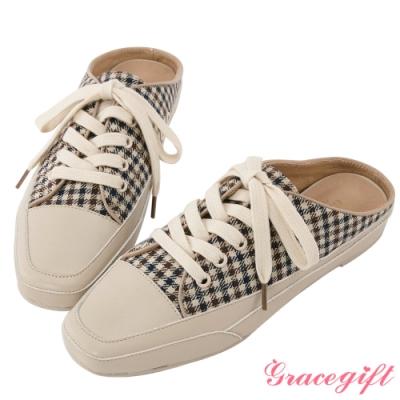 Grace gift-休閒布面方頭穆勒鞋 千鳥格