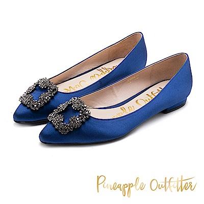 Pineapple Outfitter 緞面水鑽飾扣尖頭平底鞋-深藍
