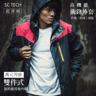 Secret Closet-時尚雙色兩件式高機能保暖外套-藍