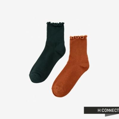 H:CONNECT 韓國品牌 配件 -羅紋捲邊素面長襪組-橘