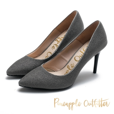 Pineapple Outfitter 金蔥亮片尖頭高跟鞋-金屬灰色