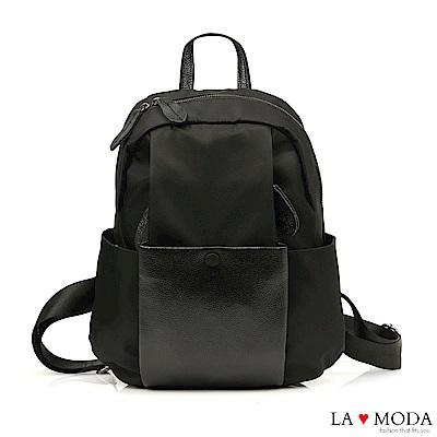 La Moda 通勤旅遊最佳首選進口防潑水大容量後背包(黑)