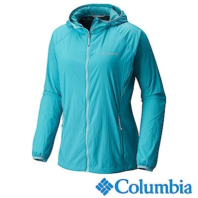 Columbia 哥倫比亞 女款-快排連帽外套-湖水藍 UKR10030AQ