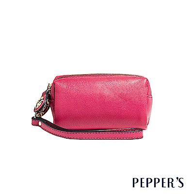 PEPPER`S Olivia 羊皮雙拉鍊零錢包 - 蜜桃紅
