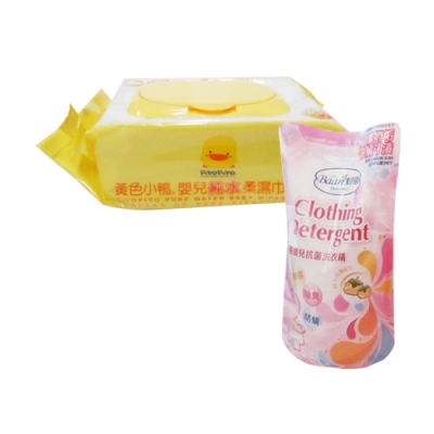 黃色小鴨盒蓋嬰兒純水柔濕巾/80抽*24包/箱+貝恩嬰兒抗菌洗衣精補充包800ML(單包)