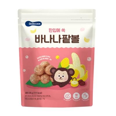 韓國【BEBECOOK】寶膳 嬰幼兒玉米球-香蕉紅豆(25g)