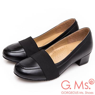 G.Ms. 小資X麻吉系列-MIT手工-牛皮鬆緊帶粗低跟鞋-黑色