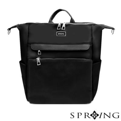 SPRING-未來系列尼龍3用後背包 A4可-經典黑