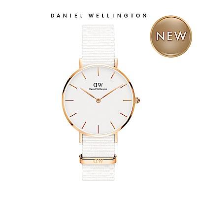 DW 手錶 官方旗艦店 32mm玫瑰金框 Classic Petite 純淨白織紋手錶