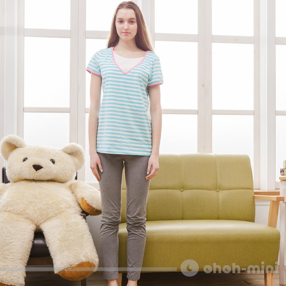 【ohoh-mini哺乳裝】休閒條紋V領短袖居家套裝