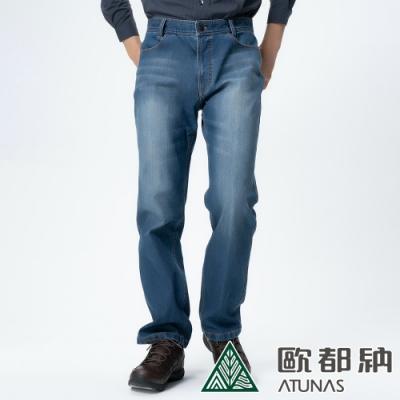 【ATUNAS歐都納】男款微刷毛保暖牛仔風格休閒長褲A-PA1325M藍/大尺碼