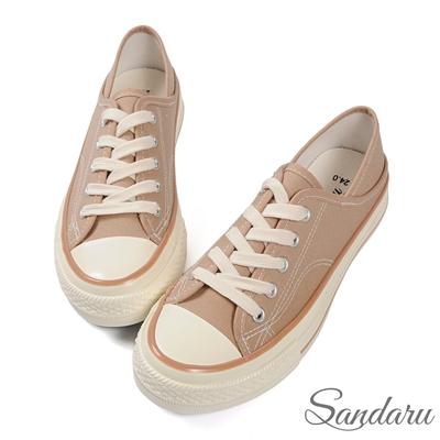 山打努SANDARU-帆布鞋 兩穿後踩配色車線休閒鞋-香檳