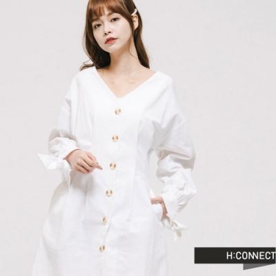 H:CONNECT 韓國品牌 女裝 -甜美綁結排釦洋裝-白