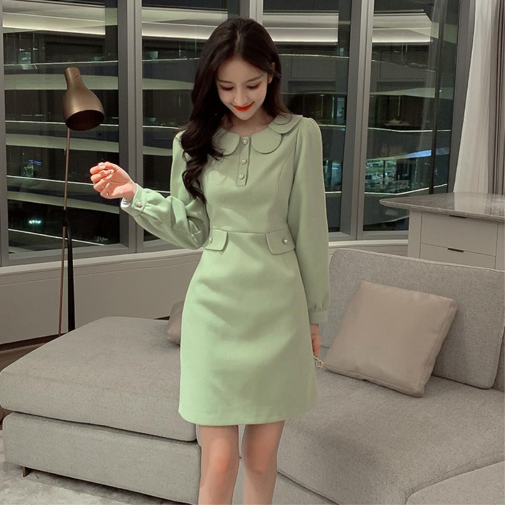 DABI 韓國風氣質娃娃領修身顯瘦時尚長袖洋裝