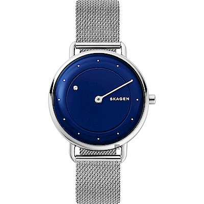 SKAGEN 地平線系列 來自月球米蘭帶女錶-藍/ 36 mm