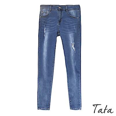 九分超彈刷色窄管褲 TATA