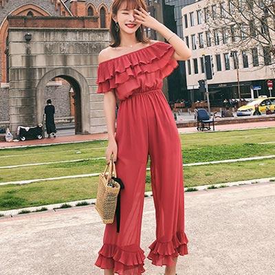 一字領荷葉邊高腰連身寬褲 (紅色)-Kugi Girl
