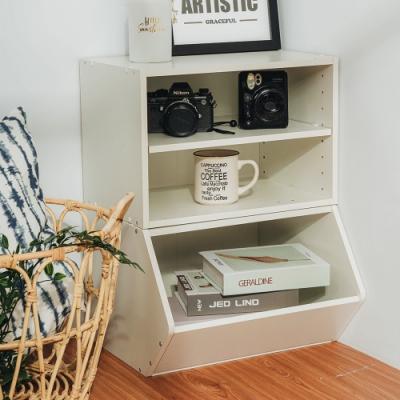 樂嫚妮 DIY 日式 收納櫃/置物櫃/玩具櫃-木紋白色2入組-42X28.2X28.8cm