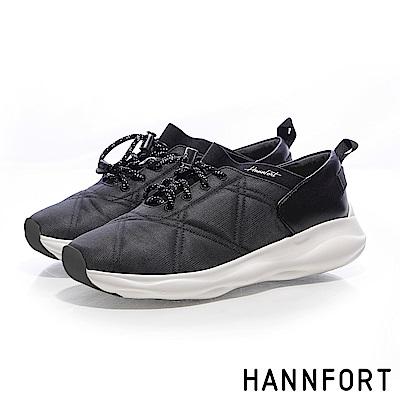 HANNFORT BUBBLES菱格衍縫跑鞋-女-潮流黑