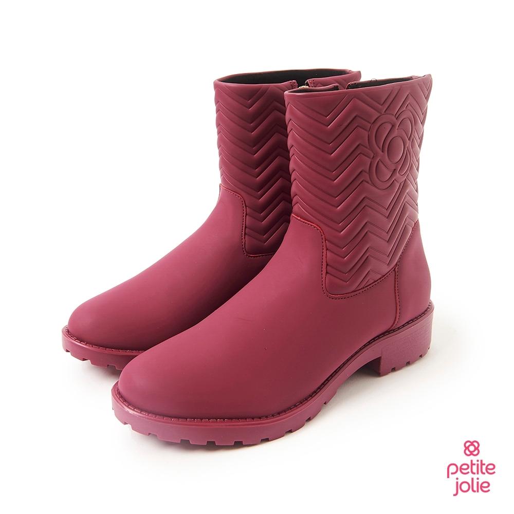 Petite Jolie-V字壓紋短筒靴-酒紅