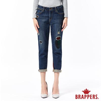 BRAPPERS 女款 Boyfriend 中低腰彈性補丁八分反摺褲-藍