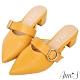 Ann'S稍顯成熟-不破內裡銀扣寬帶粗跟尖頭穆勒鞋-黃 product thumbnail 1