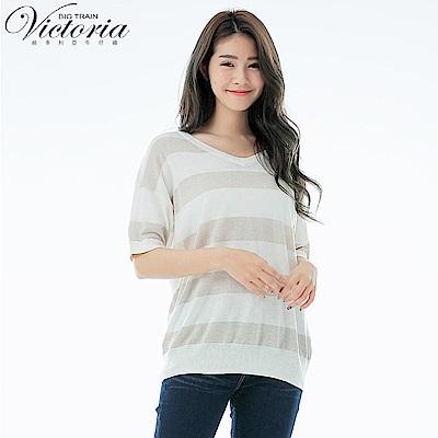 Victoria V領寬鬆落肩短袖線衫-女-白色