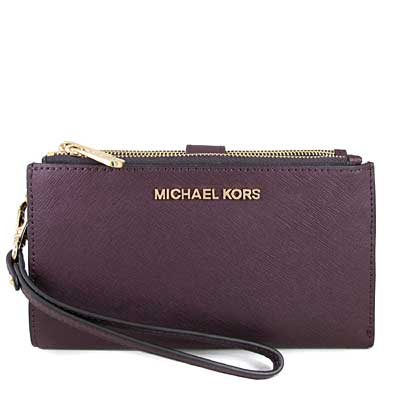 MICHAEL KORS JET SET TRAVEL金字防刮皮革雙層手提長夾(紫苺果色)