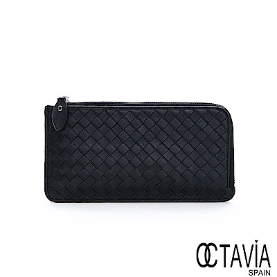 OCTAVIA 8 - 温暖  手機卡片紙鈔直入 L型編織長夾 - 優雅黑
