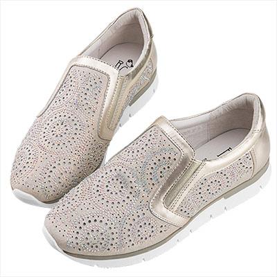 Robinlo 微奢華感金屬圓形鑲鑽休閒鞋 金