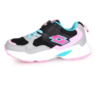 LOTTO 男女中童經典復古運動鞋-慢跑 路跑 黑灰粉紅藍