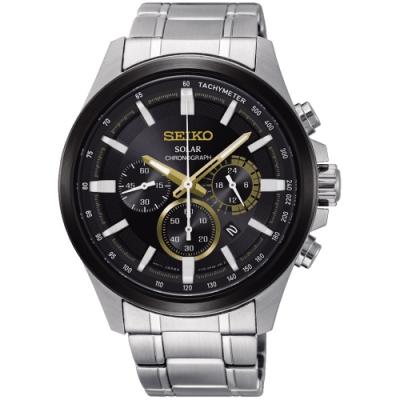 SEIKO 精工criteria 太陽能商務計時錶-金色(SSC679P1)