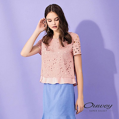 OUWEY歐薇 星星縷空蕾絲造型寬版上衣(粉)