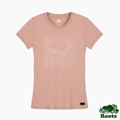 Roots 女裝- 城市悠遊系列 海狸LOGO短袖T恤-粉色