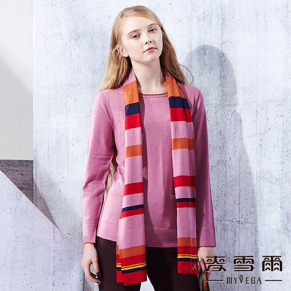 麥雪爾 撞色條纹羊毛針織圍巾-紅