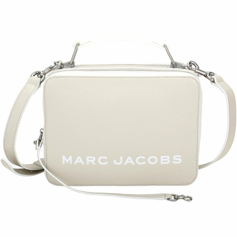 MARC JACOBS THE BOX 23 仿舊銀雙拉鍊拚色牛皮手提/肩背包(燕麥色)
