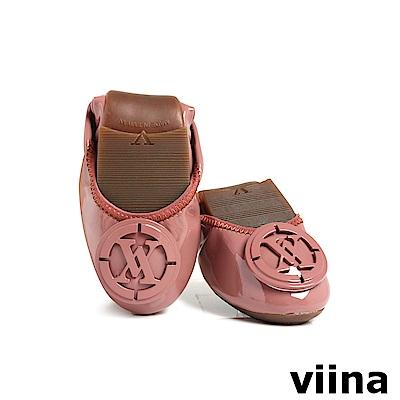 viina經典LOGO鏡面釦漆皮摺疊鞋MIT-藕粉