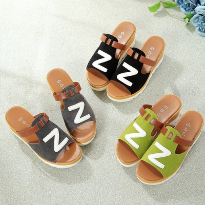 KEITH-WILL時尚鞋館 甜美韓國氣質潮休撞色楔型拖鞋