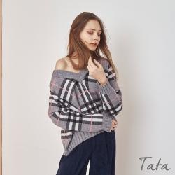 寬鬆大V領撞色格紋針織上衣 TATA-F