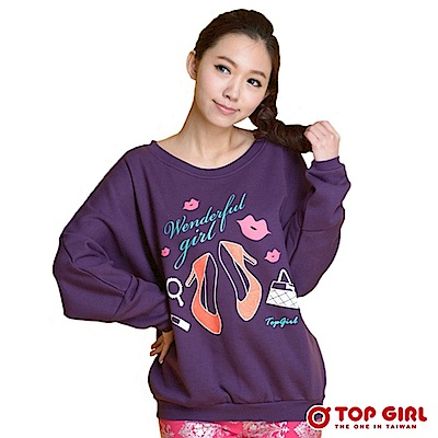 【TOP GIRL】時尚漂亮寶貝飛鼠袖長T - 華麗紫