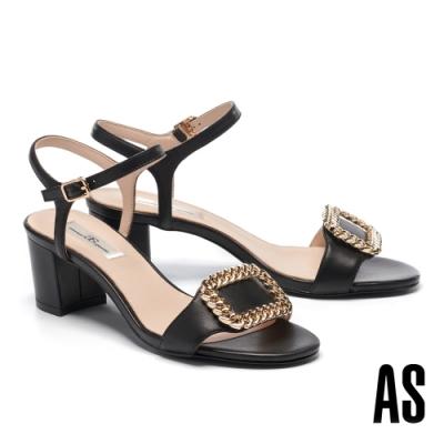 涼鞋 AS 個性時尚金屬飾釦繫帶全羊皮一字高跟涼鞋-黑