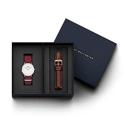 DW手錶 官方旗艦店 36mm玫瑰紅織紋錶+紅棕真皮錶帶(編號18) @ Y!購物